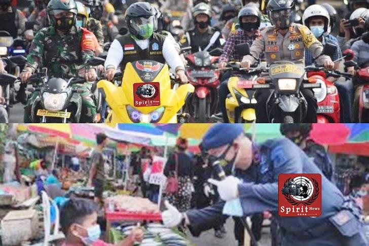 Bupati-Polres dan Dandim Bagi-bagi Masker Gratis ke Warga, di Wilayah Bone