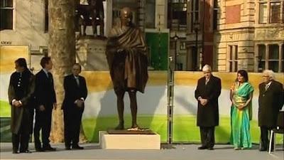 iconic bronze statue of Mahatma Gandhi at parliament square UK