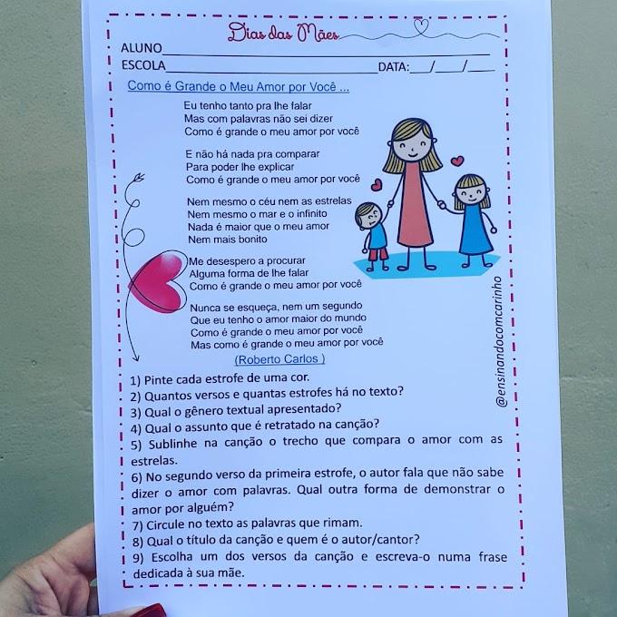 Atividade de interpretação de uma canção para trabalhar o dia das mães