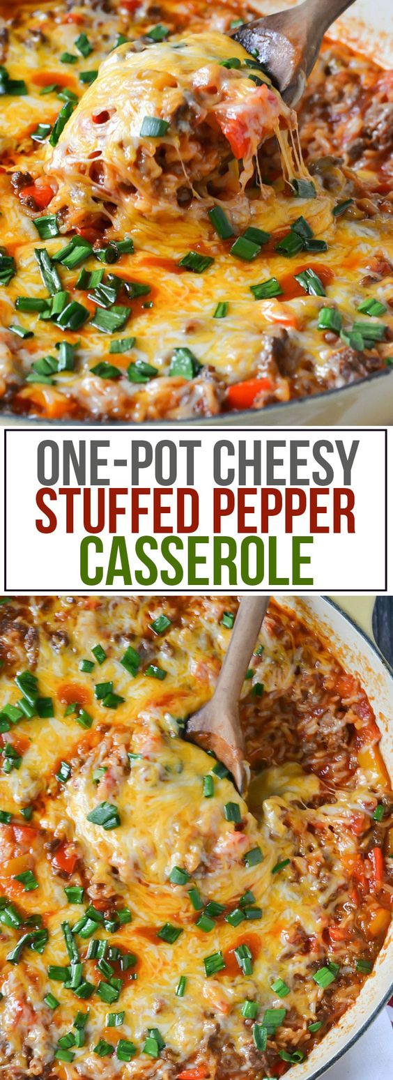 One-Pot Cheesy Stuffed Pepper Casserole