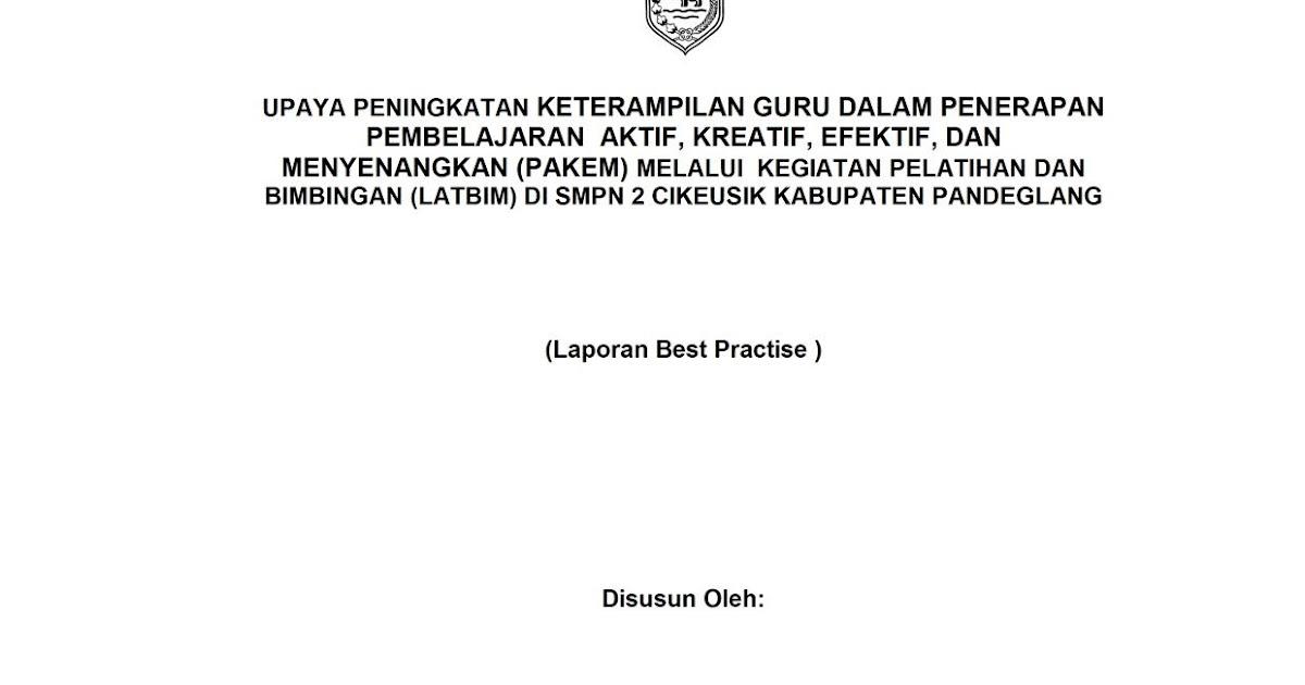 Download Contoh Laporan Best Practices Untuk Kepala Sekolah Tomatalikuang Com Berita Pendidikan Terbaru