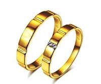 Cincin nikah emas klasik mata berlian