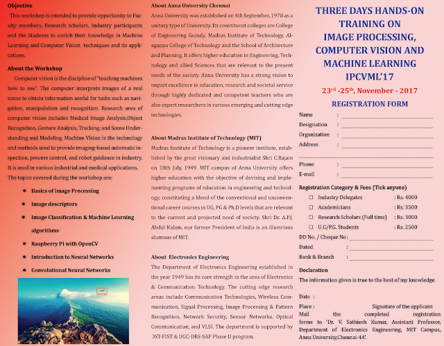 Anna University 3 Days Workshop on Image Processing, Computer Vision and Machine Learning