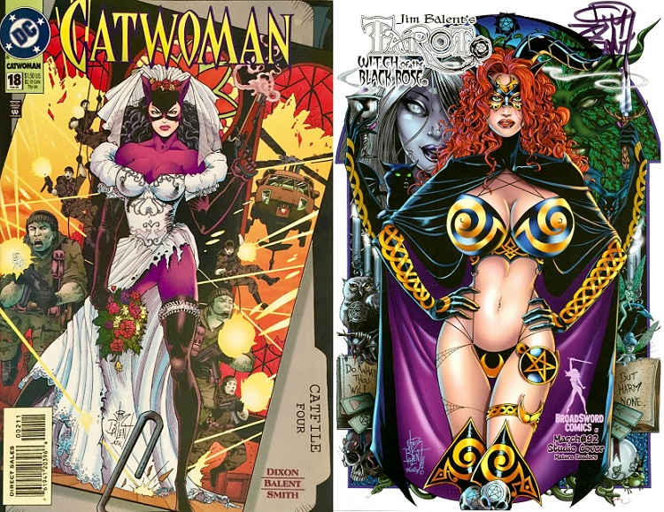 Side by side images of Catwoman #18 cover showing Catwoman wearing a huge partly shredded wedding dress over her purple catsuit; next to collectible signed Balent image for Tarot: Witch of the Black Rose, comprising a red haired woman with impossible breasts