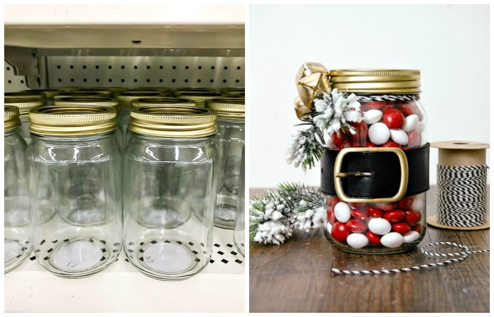 Dollar Tree Santa belt mason jar
