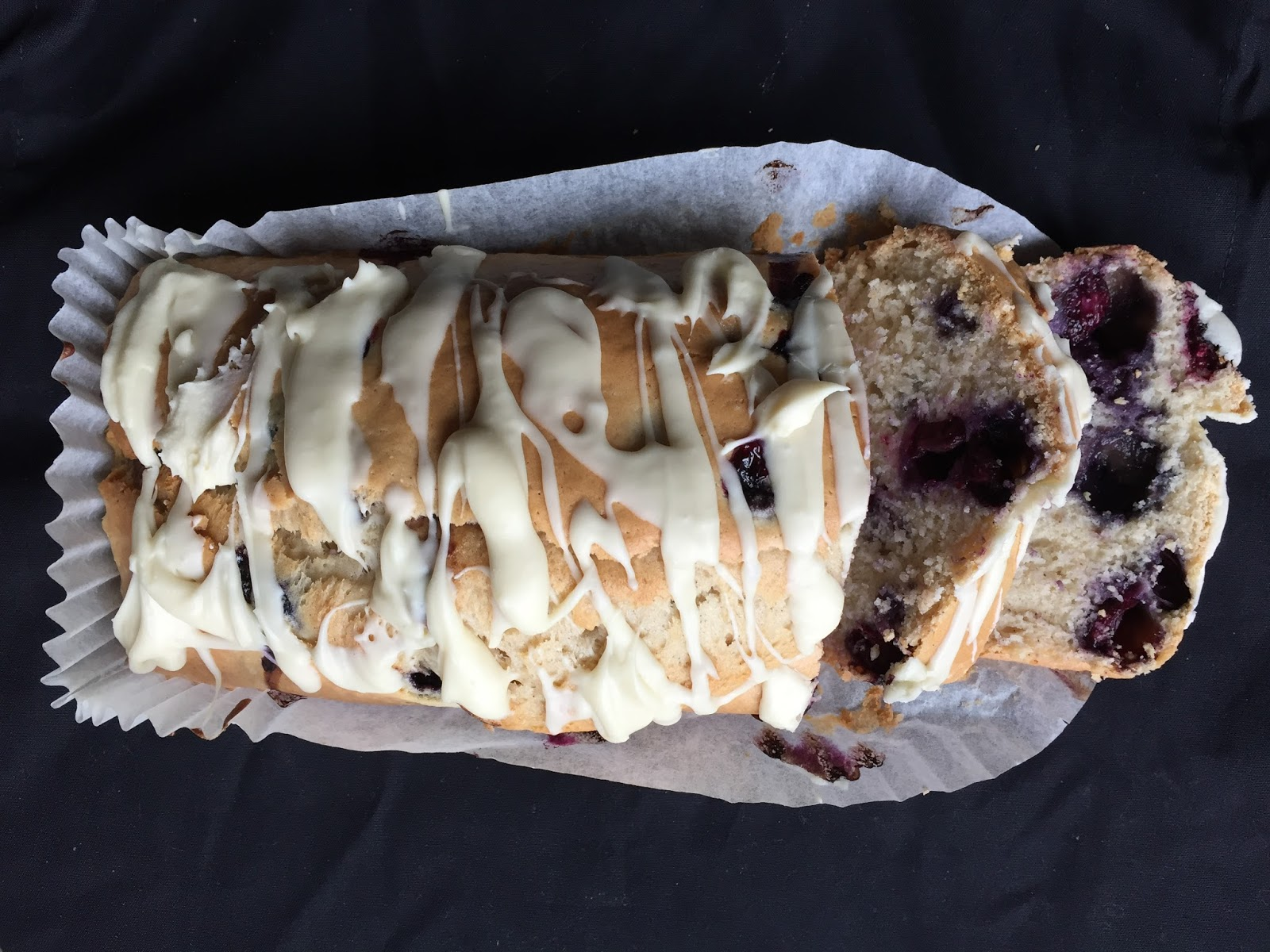 Blueberry Loaf Cake with a White Chocolate Topping
