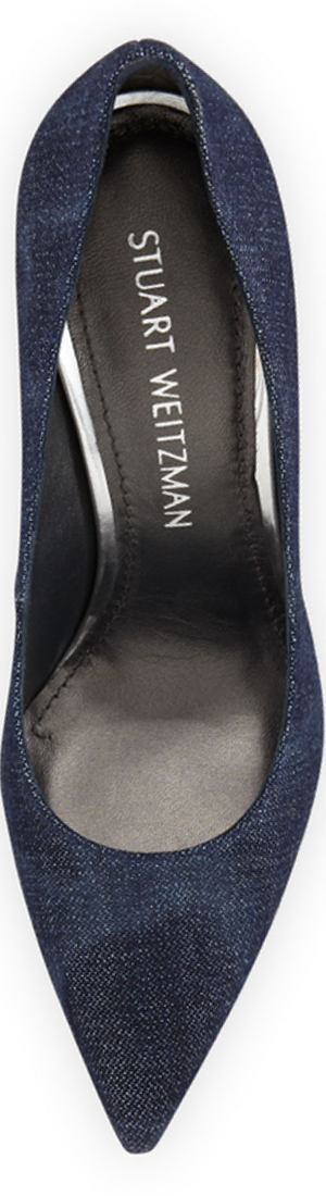 Stuart Weitzman Nouveau Denim Pointed-Toe Pump