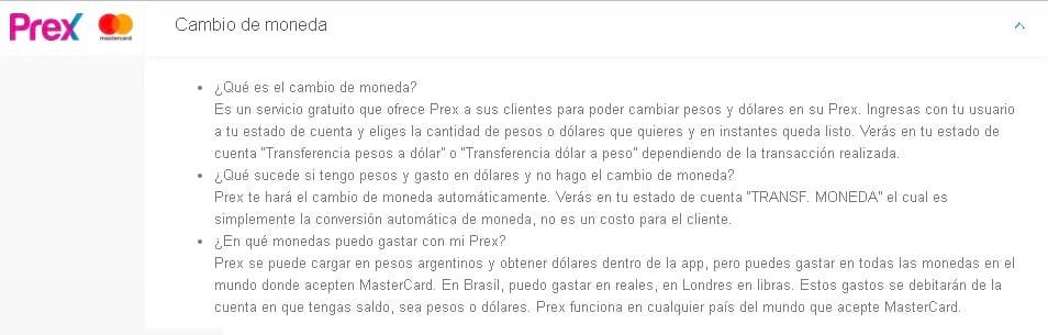 cambio de moneda tarjeta prex argentina