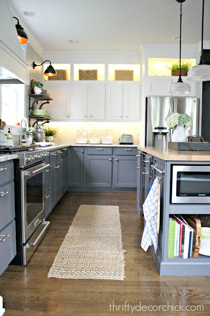 Gray lower cabinets white uppers in kitchen