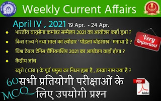 Weekly Current Affairs ( April IV , 2021 )