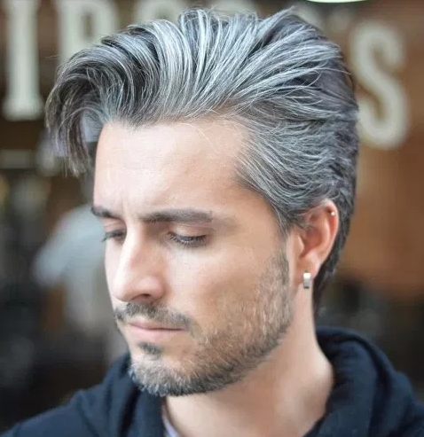 Model Silver hair with comb over style