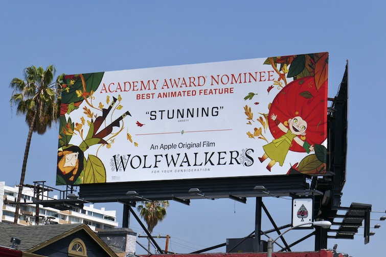 Wolfwalkers Academy Award nominee billboard