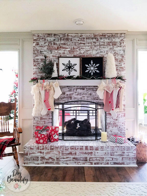 Christmas fireplace and stockings
