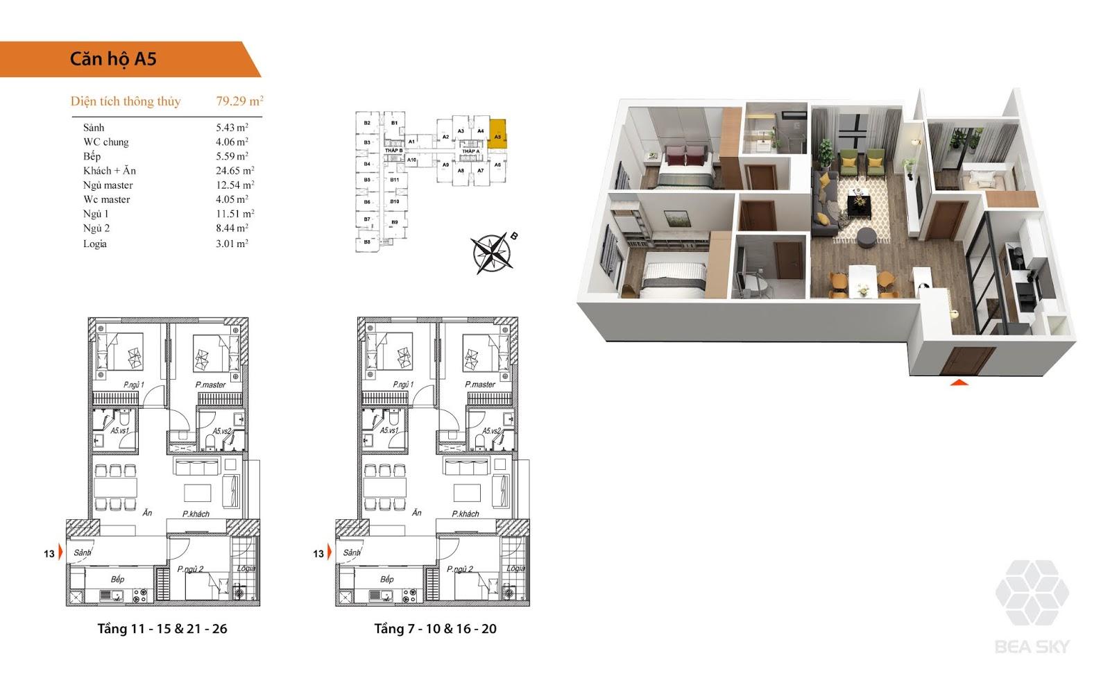Thiết kế căn A5 chung cư Bea Sky Nguyễn xiển