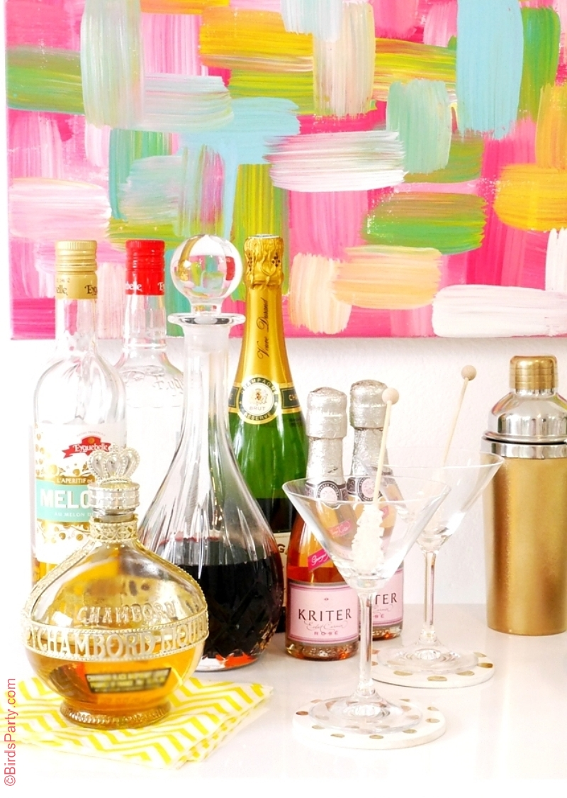DIY Bar Styling without a Bar Cart - BirdsParty.com
