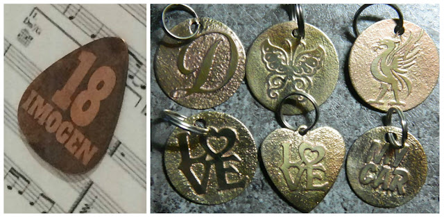 Salt water etched copper guitar pick by Lesley Graffham and Brass discs by Dawn Martindale.  Both made using Nadine Muir's etching tutorial for Silhouette UK Blog