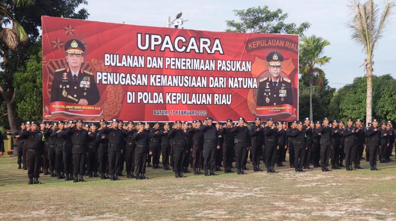 Polda Kepri Gelar Upacara Penerimaan Pasukan Kemanusiaan dari Natuna