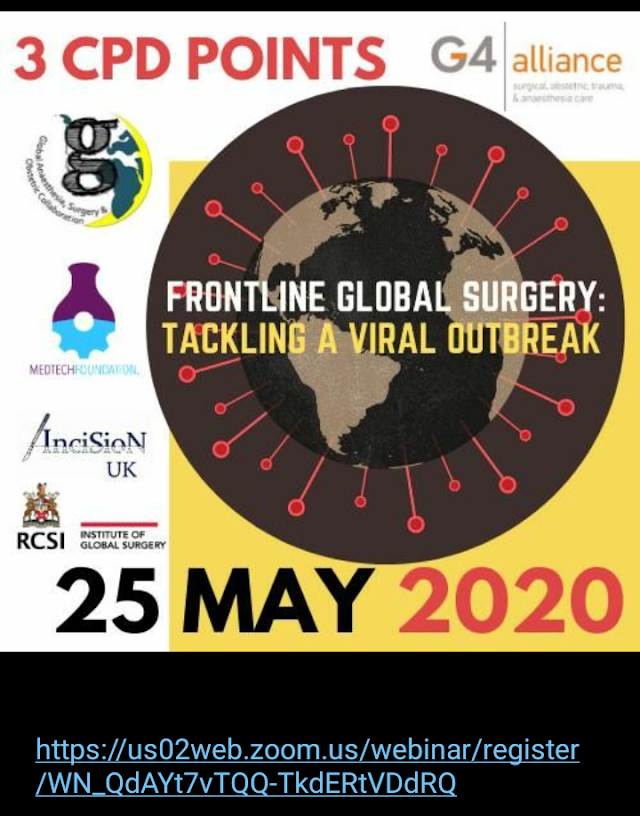"3 CPD Points ""FRONLINE GLOBAL SURGERY: TACKLING  A VIRAL OUTBREAK"""