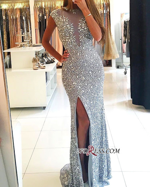 Gorgeous Crew Cap-Sleeve Sequins Prom Dress   2018 Mermaid Crystal Evening Gowns With Split