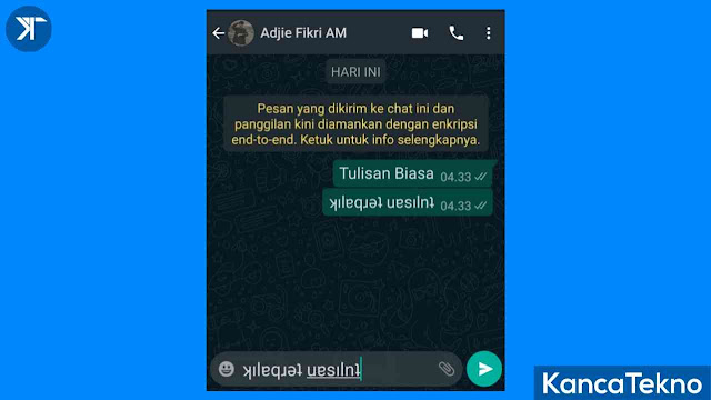 Cara Membuat Tulisan Terbalik WhatsApp