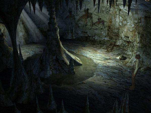внутренний зал пещеры с рисунками на стенах в игре сибирь