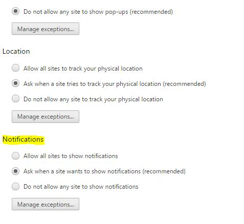 Chrome's notification setting