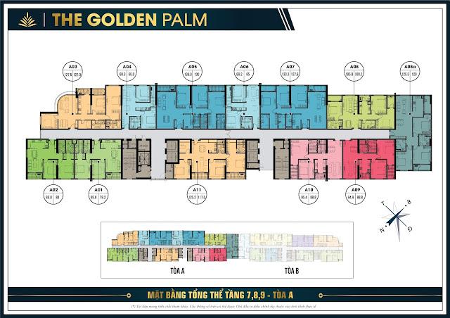 Mặt bằng tầng 7, 8, 9 tòa A The Golden Palm