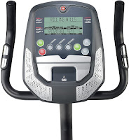 Schwinn A10 Upright Exercise Bike's console with single LCD screen, image, compared with Schwinn 130 & 170