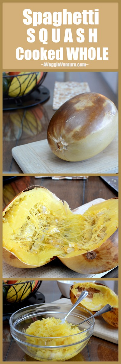 How to Cook a Whole Spaghetti Squash ♥ AVeggieVenture.com.