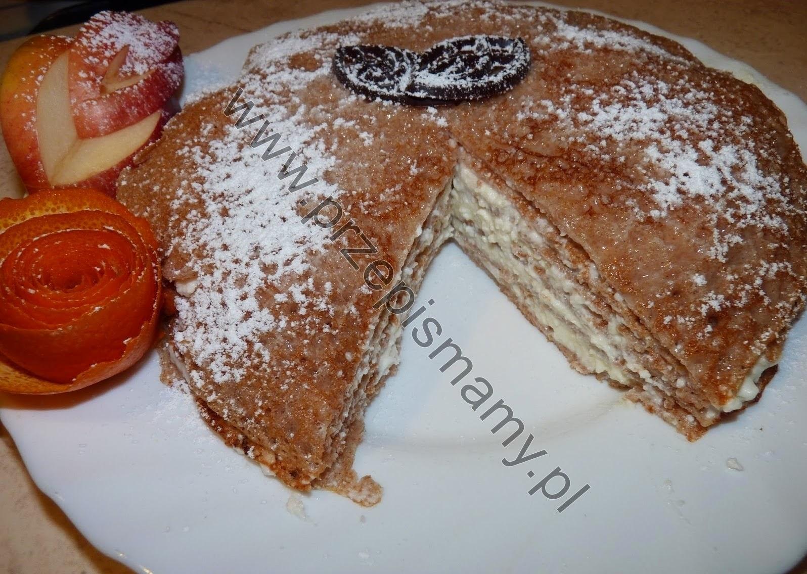 Naleśnikowy tort  z mąki orkiszowej