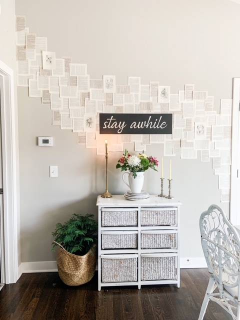 Cheap and easy wall treatment with book pages
