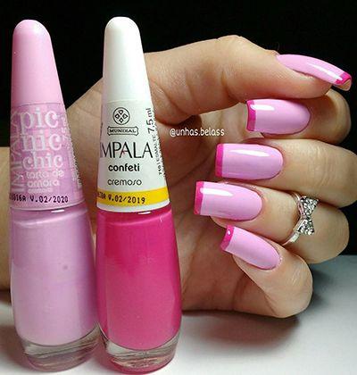 unhas inglesinhas rosa