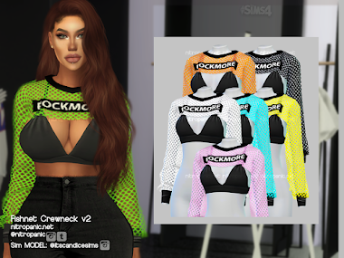 Fishnet Crewneck v2 for The Sims 4