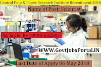 Central Pulp & Paper Research Institute Recruitment 2018– 16 Lower Division Clerk, Scientist