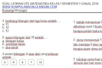 Update Soal Latihan Matematika KTSP Kelas 1 Semester 1/ Ganjil Terbaru