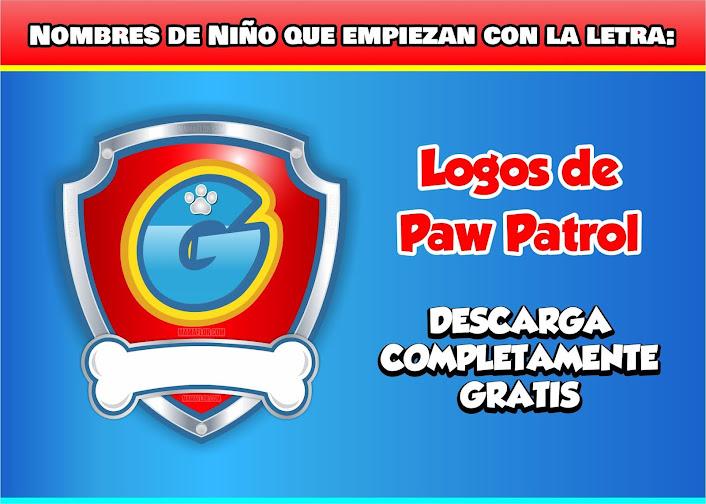 """Paw Patrol: Nombres de Niño con la Letra """"G"""""""