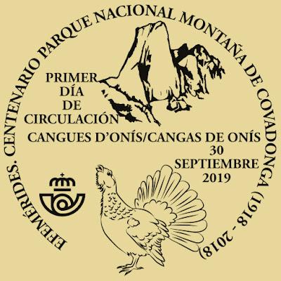 Matasellos del Centenario del Parque Nacional de la Montaña de Covadonga