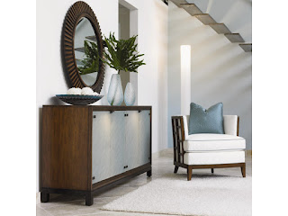 beautiful console table with sea glass detail