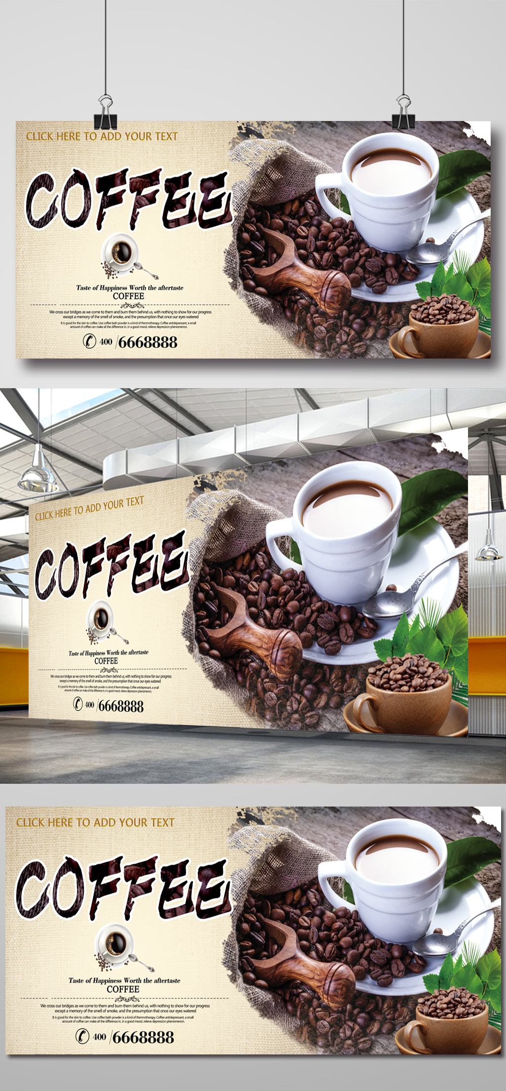 Open source psd banner file for web and print quality for coffee lovers