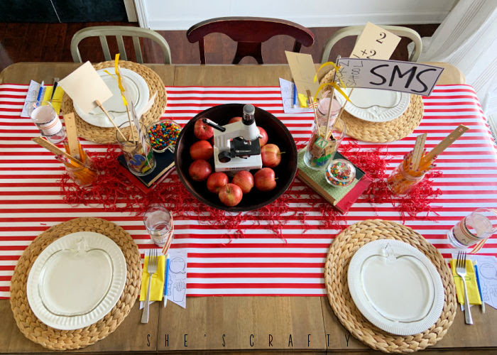 Back to School themed table decorations