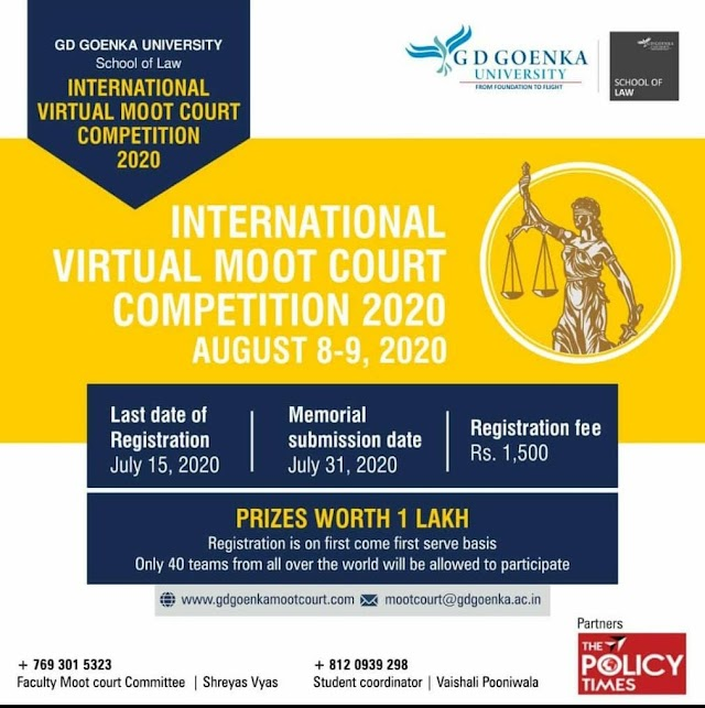 [Online] International Virtual Moot Court Competition 2020 by GD Goenka University [Register by 15 July]