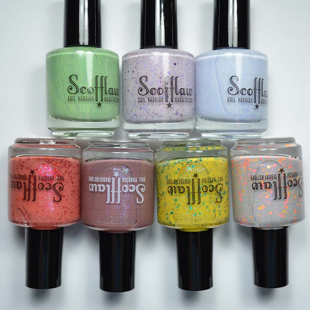 glitter nail polish collection in bottles