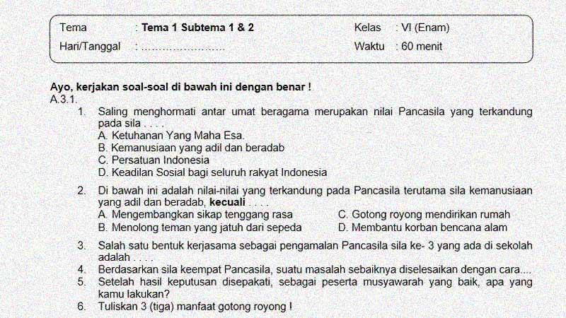 Soal Ulangan Kelas 6 Tema 1 Subtema 1 & 2 dan Kunci Jawabannya