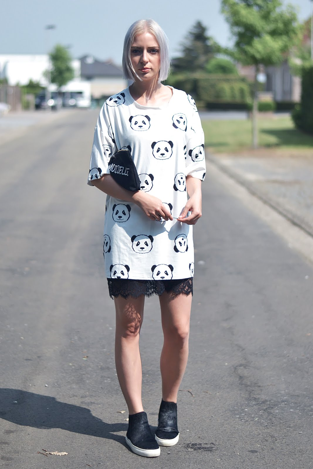 Panda, t-shirt dress, black and white, lace dress, pony hair slip on, zara, sheinside, minimal