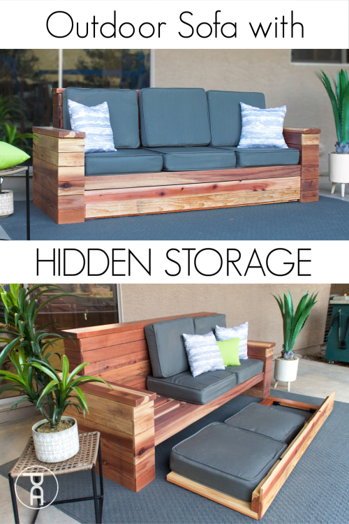 Build your own wood outdoor sofa couch with hidden cushion and ice chest storage following easy building plans