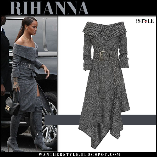 Rihanna in grey off shoulder herringbone monse dress and grey boots what she wore harvard