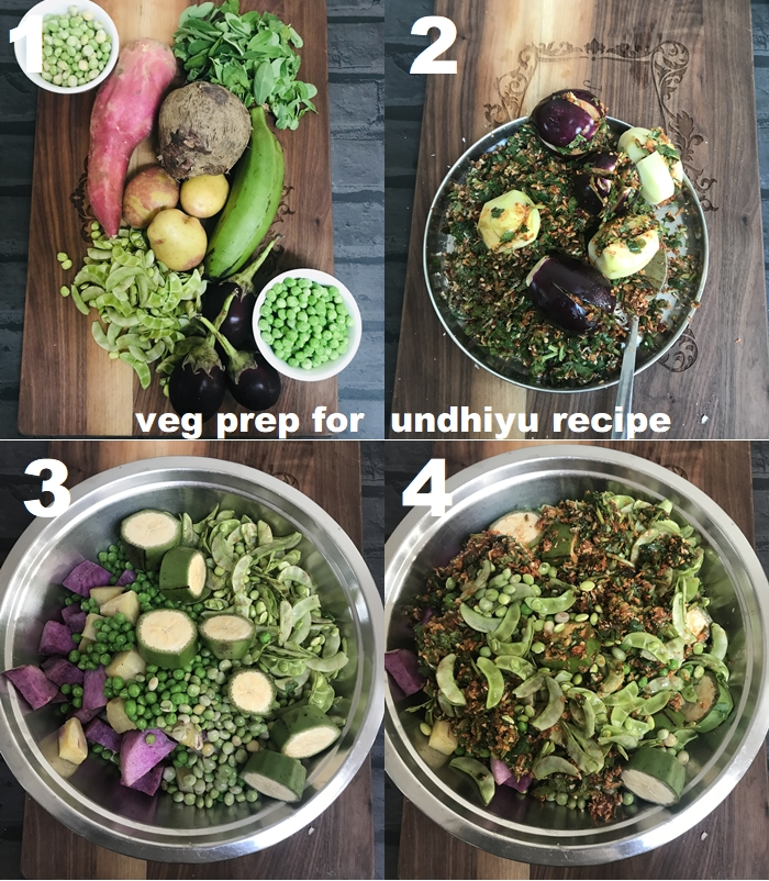 undhiyu recipe step by step - is an exciting one-pot winter treat that is prepared with a blend of indian vegetables. this traditional gujarati dish has surti papdi, methi muthia and purple yam as the star ingredients and loaded with lots of textures and flavours.   serve this uber delicious and moreish undhiyu with soft poori, with a bowl of yummy gajar halwa which is another indian delicacy that should not be missed during this season or with desi ghee wali jalebi for a satisfying meal.