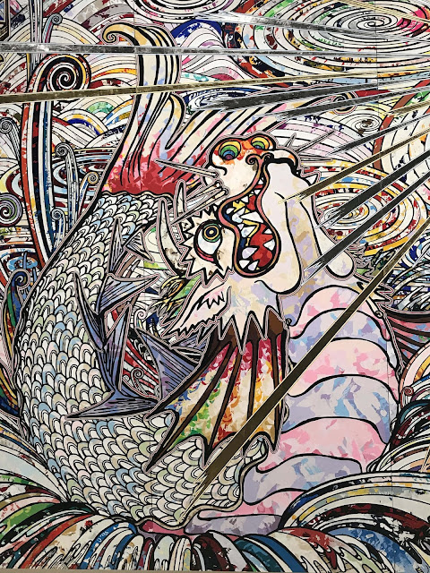 Detail from Takashi Murakami mural 'In the land of the dead, stepping on the tail of a rainbow', 2014
