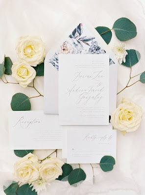 greenery and white roses wedding stationary