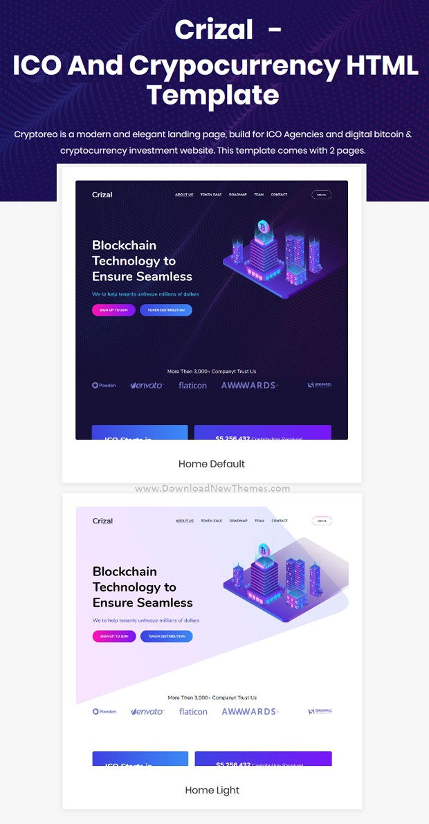 Modern Design ICO and Cryptocurrency Website Template